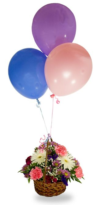 Flowers for USA - Best Wishes Basket And Balloons flowers