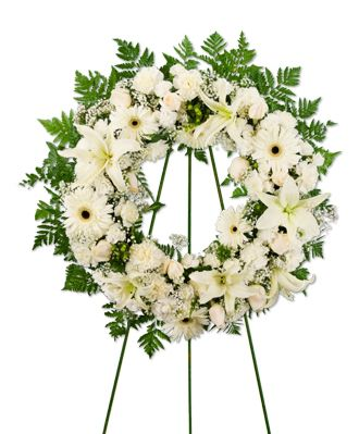 Flowers for USA - Wreath of Mixed White Flowers flowers