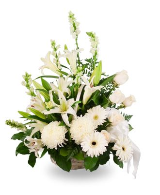 Flowers for usa - Basket Arrangement of Mixed White Flowers flowers