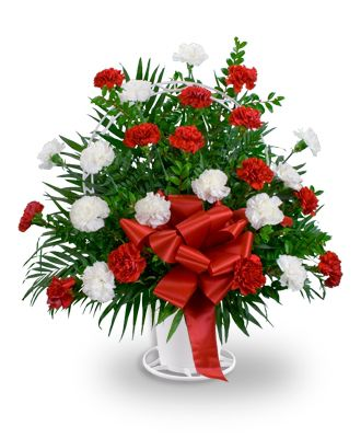 Flowers for usa - Red and White Handled Basket flowers