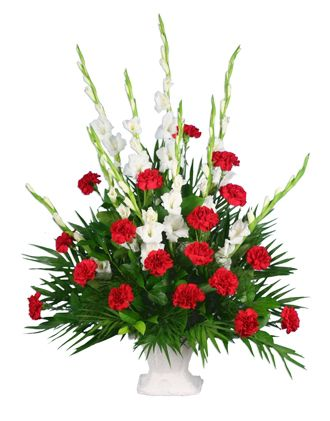 Flowers for usa - Red and White Floor Basket flowers