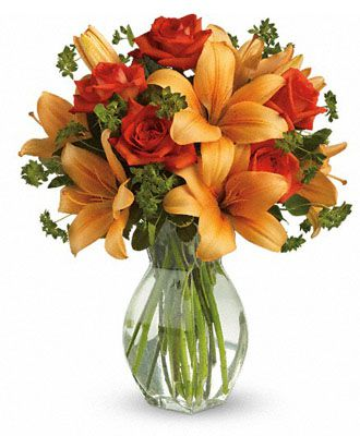 Flowers for usa - Fiery Lily and Rose flowers