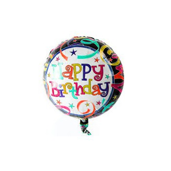 Milano blomster- Happy Birthday Balloon  Levering