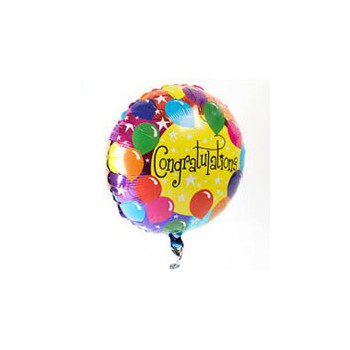 Perth flowers  -  Congratulations Balloon Flower Bouquet/Arrangement