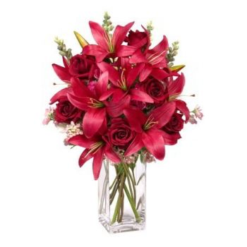 China flowers  -  Red Symphony Flower Bouquet/Arrangement