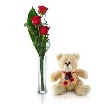 Aruba flowers  -  Teddy with Love Flower Bouquet/Arrangement