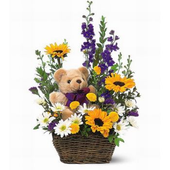 Central Thailand online Florist - Bear Basket Bouquet