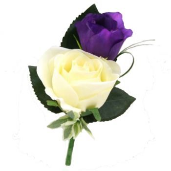 Pau flowers  -  Double Rose  Buttonhole Flower Delivery