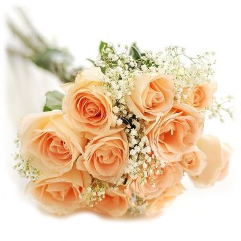 St. Thomas flowers  -  Peach Romance Flower Bouquet/Arrangement