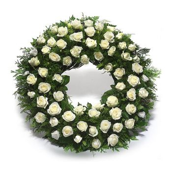 Marbella flowers  -  Wreath of White Roses Flower Bouquet/Arrangement