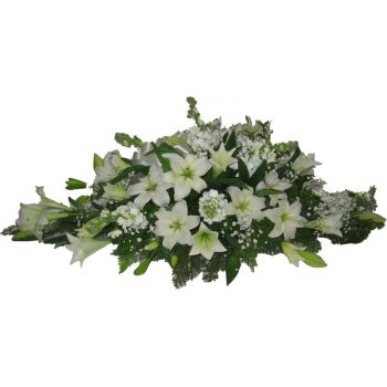 Madrid flowers  -  White Casket Floral Spray  Flower Bouquet/Arrangement