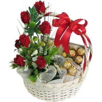 Qatar flowers  -  Basket with chocolate Flower Delivery