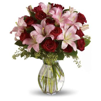 India flowers  -  Red and Pink Symphony Flower Bouquet/Arrangement