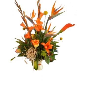 Barbados flowers  -  Orange Delight Flower Bouquet/Arrangement