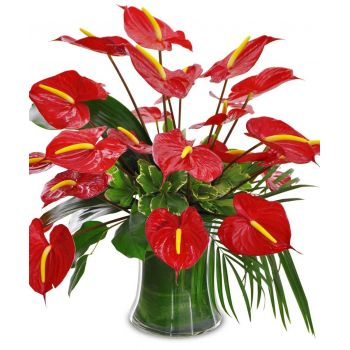 Barbados flowers  -  Red Fire Flower Bouquet/Arrangement