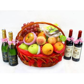 China flowers  -  Mixed Fresh Fruit and Wine Flower Delivery