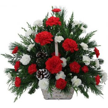 Warsawa bunga- Festive Red and White Basket Bunga Pengiriman